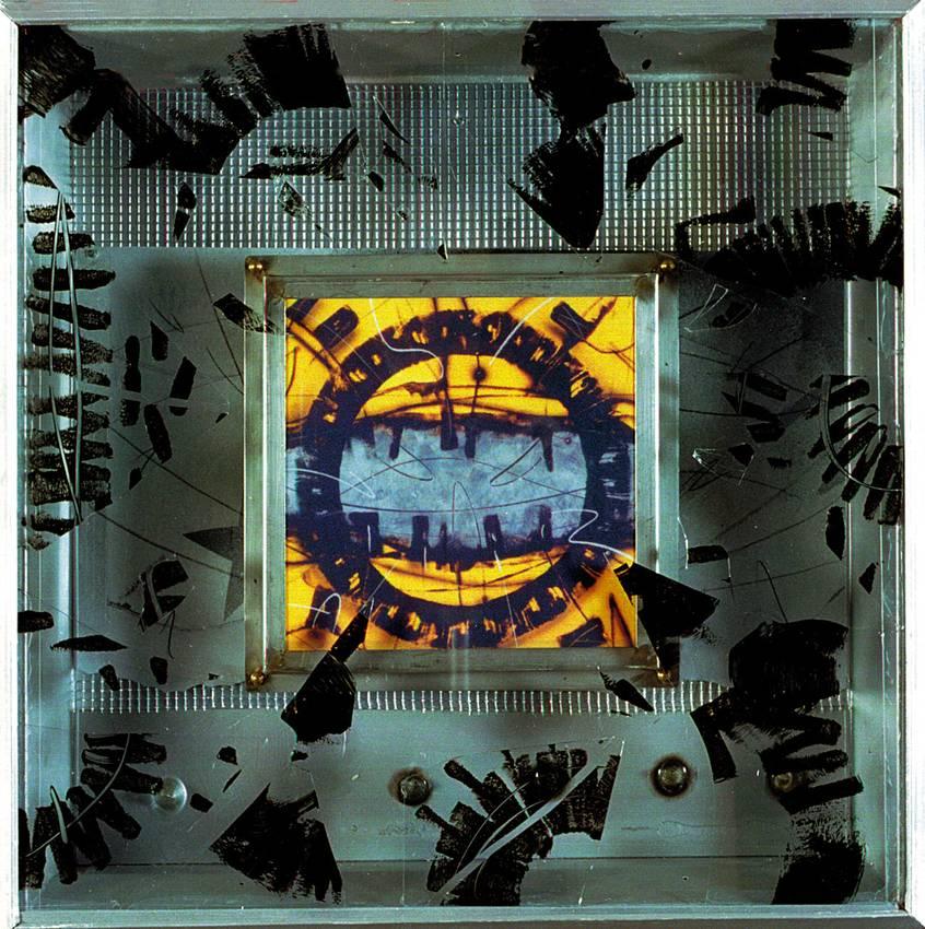 """""""metalchrome light box"""" acrilyc on metal cm60 x cm60 x cm12 collezione privata 2001"""