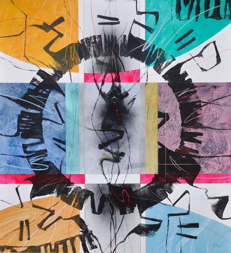"""Circular Thinking"" acrilyc on cardboard cm110 x cm110 Private collection Genova 2017"