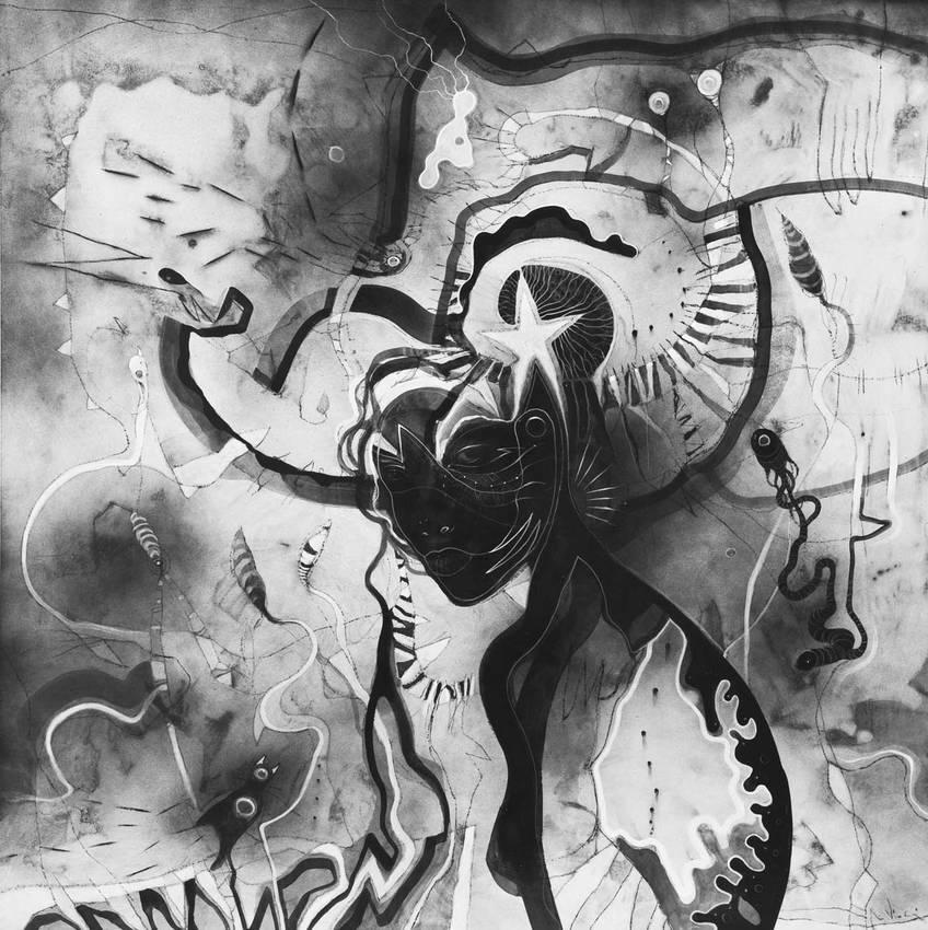 """Cosmic spleen"" acrilico su tavola cm100 x cm100 2012"