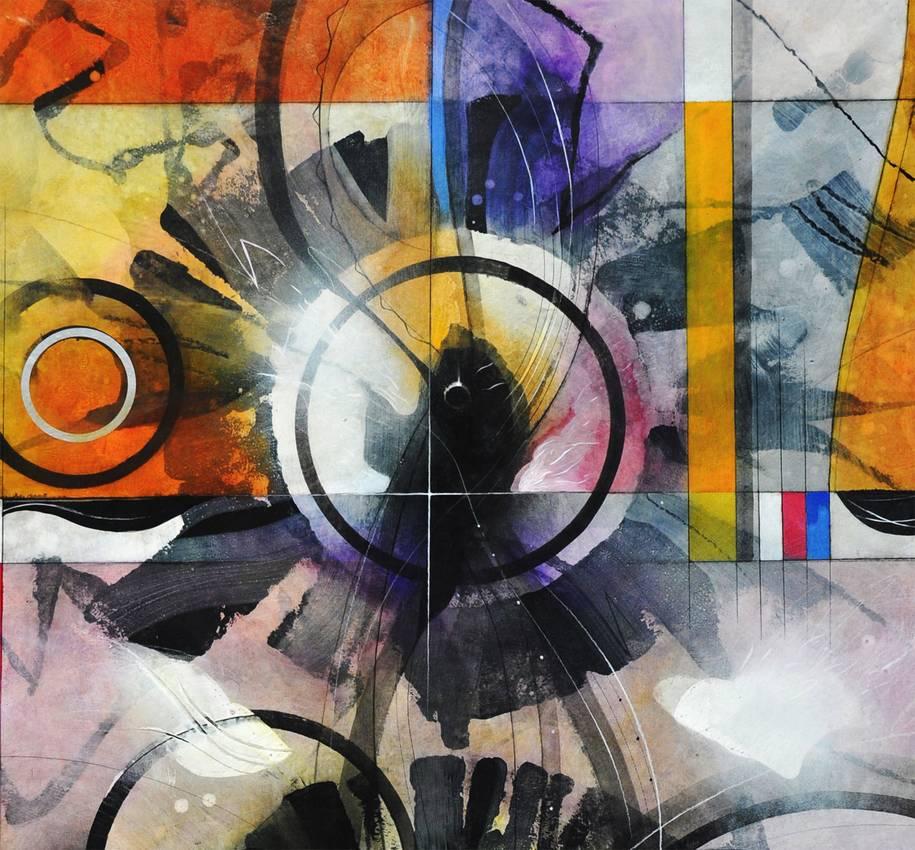 """Circular Thinking"" acrilyc on cardboard (detail) cm100 x cm150 2015"