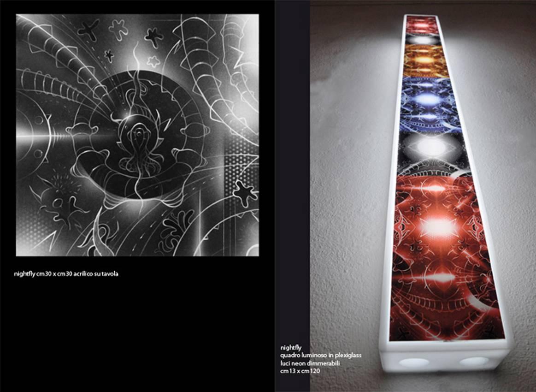 """Astral"" neon lights on plexiglas cm130 x cm13 x cm13 2011"