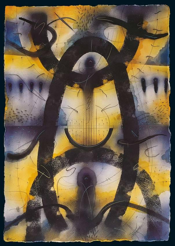 """in nessun luogo"" ink on paper cm140 x cm100 1998"