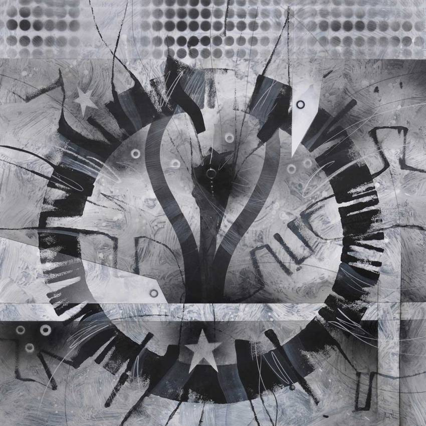 """Circular Thinking"" acrilyc on cardboard cm100 x cm100 2016"