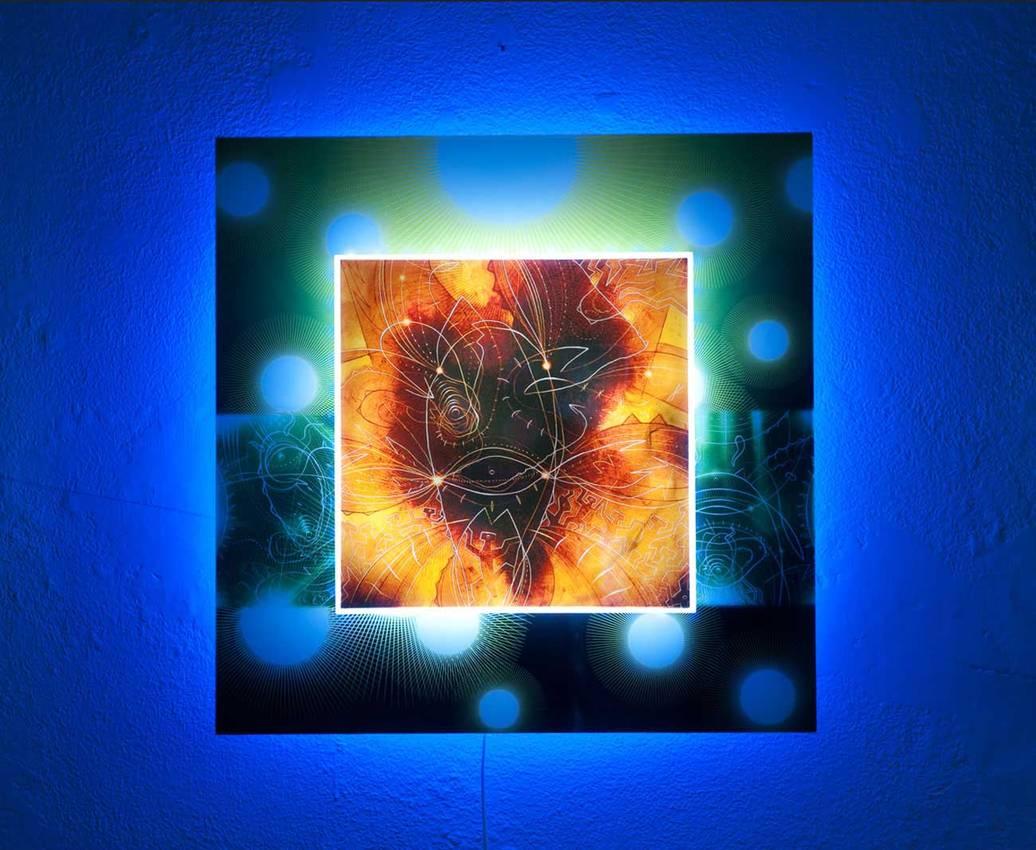"""Origine"" led RGB lights cm70 x cm70 Private collection 2009 Genova"