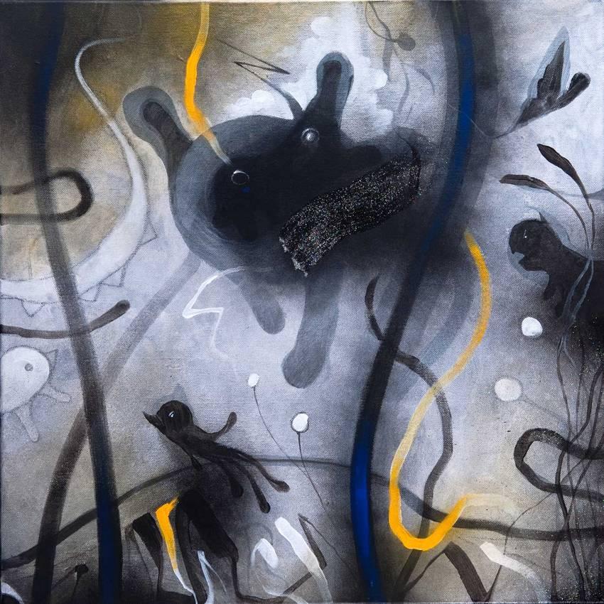 """""""Anywhere"""" (particolare) acrilico su tela cm50 x cm50 collezione privata Genova 2011"""