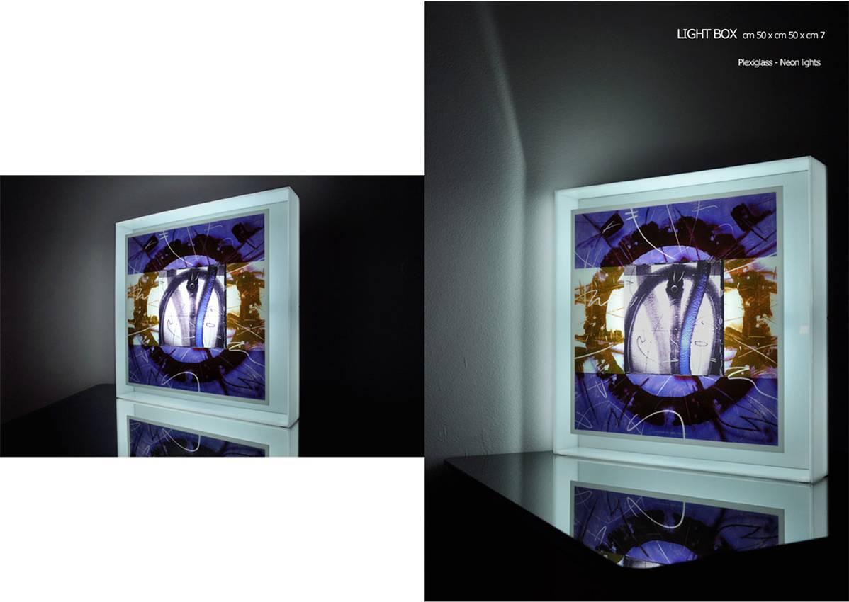 "Light Box serie ""Circular thinking"" cm50 x cm50 x cm7 neon lights - plexiglass- / 2010"