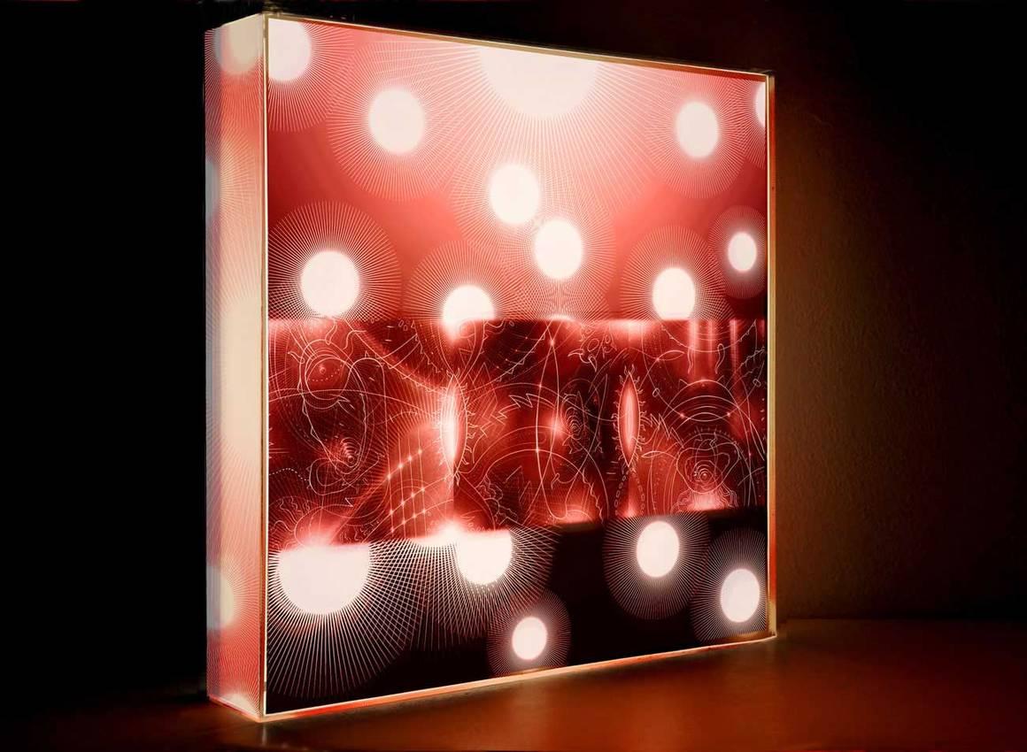 "Light Box serie ""Red lights"" cm50 x cm50 x cm7 neon lights - plexiglass- / 2013"