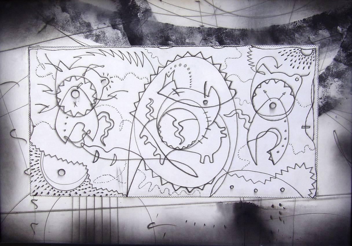 """Cattivi pensieri"" acrilico su tela cm70 x cm100 Genova 2001"