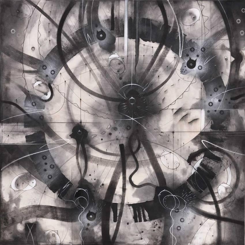 """""""Pensiero circolare"""" acrilico su tela cm120 x cm120-2012 Collezione privata - Parigi"""