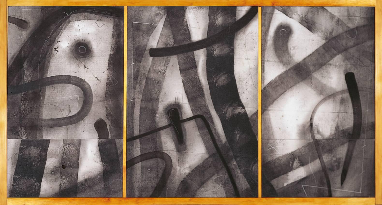 """silenzi tracciati"" acrilyc on canvas cm50 x cm50 1995"