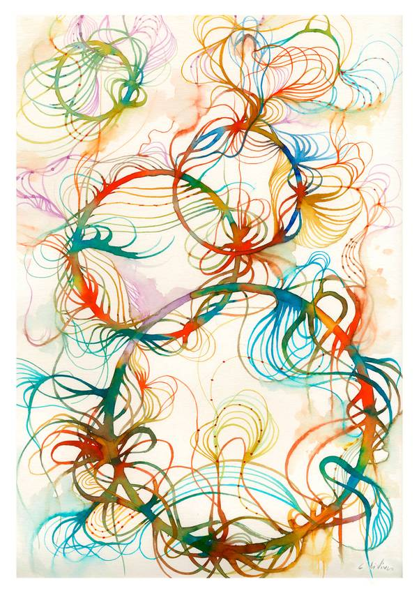 """""""Floating colors"""" Ink on paper cm50 x cm65 Private Collection Paris 2016"""