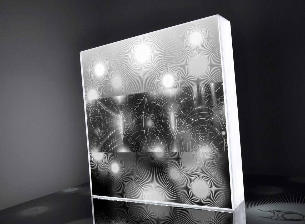 "Light Box serie ""Black lights"" cm50 x cm50 x cm7 neon lights - plexiglass- / 2013"