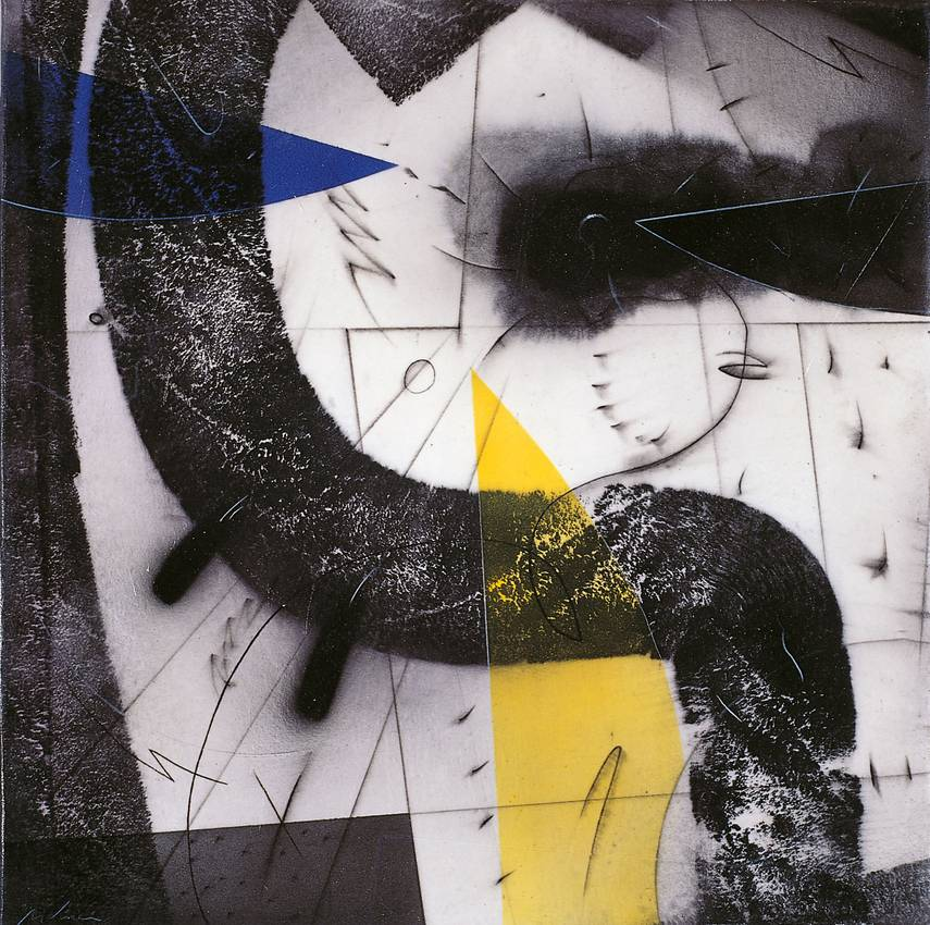 """spazi irrequieti"" acrilyc on canvas cm50 x cm50 1998 private collection"