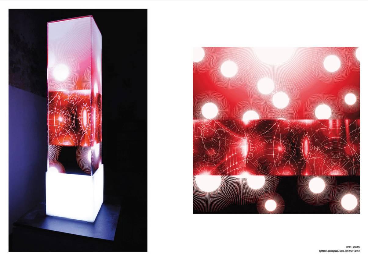 "Totem Serie ""Red lights"" -plexiglass- cm60 cm13 x cm13"