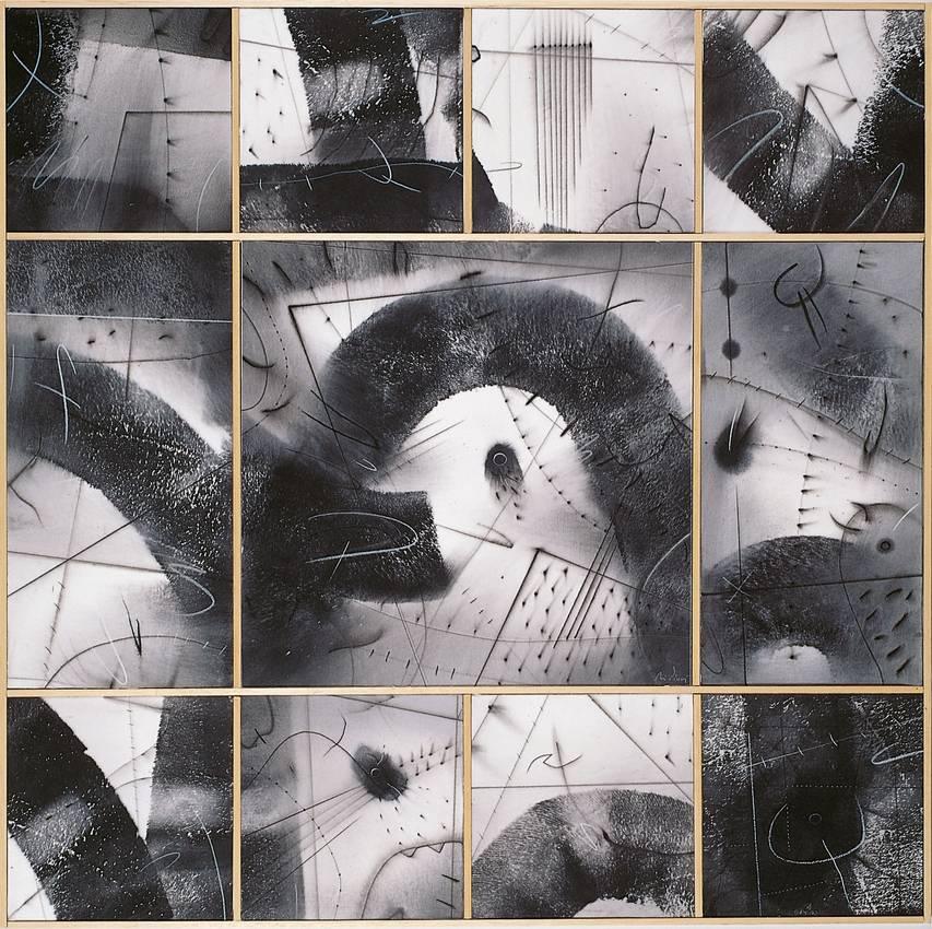 """""""piu lontano possibile"""" acrilyc on canvas cm80 x cm80 1998 private collection"""