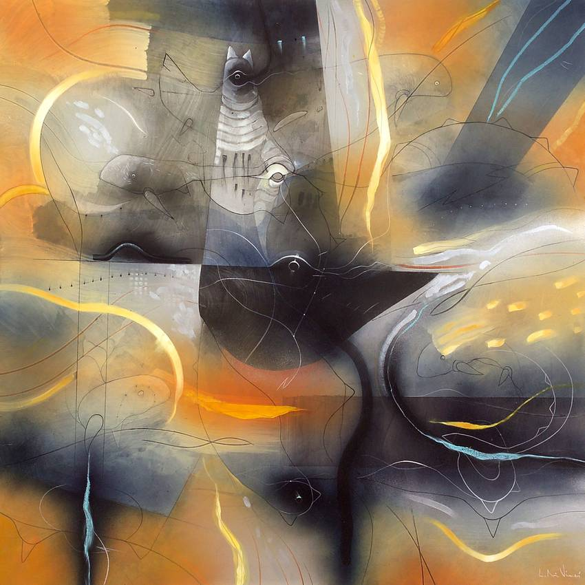 """Siderale"" olio su tavola cm120 x cm120 2006"