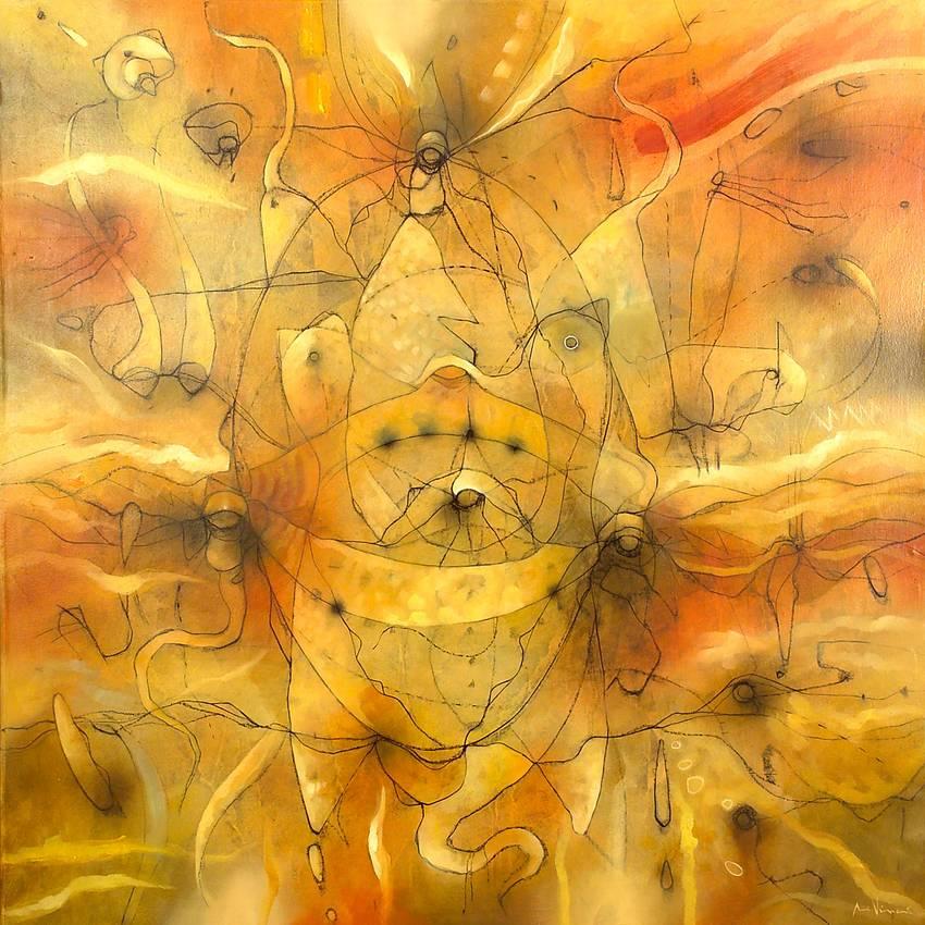 """""""Origine gialla"""" olio su tela cm120 x cm120 Collezione privata Genova 2006"""