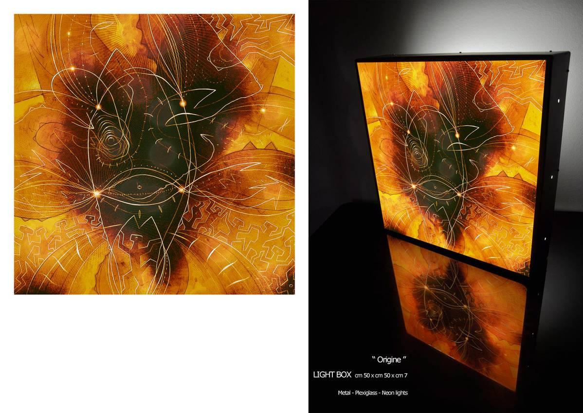 """Origine"" cm50 x cm50 x cm7 Metal-plexiglas-neon lights 2011"
