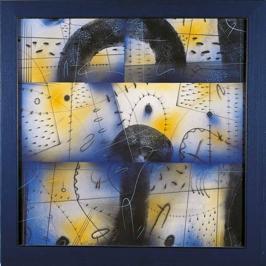 """""""viaggio siderale"""" acrilyc on canvas cm70 x cm70 1997 private collection"""