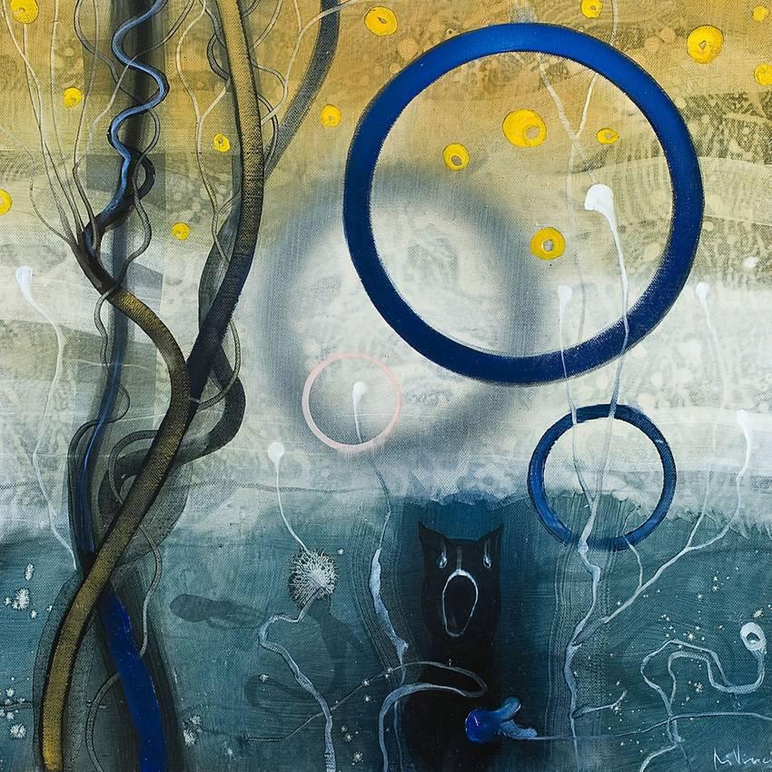 """""""Bubble rain"""" olio su tela cm50 x cm50 Collezione privata Parigi 2010"""