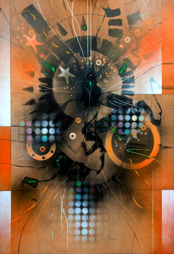 """Circular Thinking"" acrilyc on cardboard cm100 x cm70 2017"