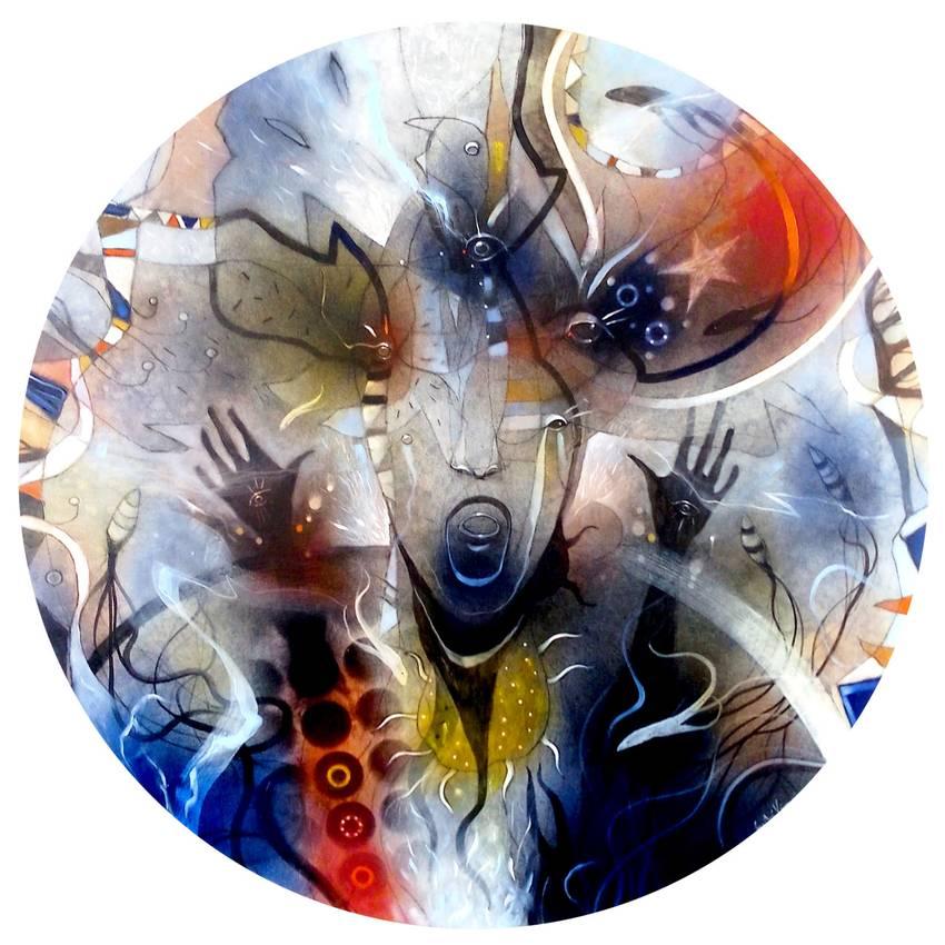 """Apocalypse dreaming"" olio su tela diam.cm70 Collezione privata Parigi 2015"