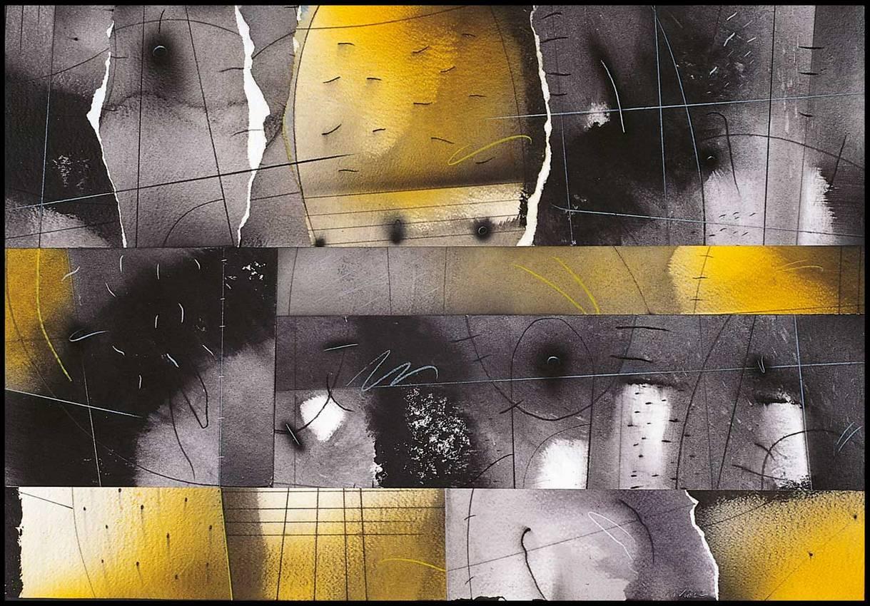 """""""orizzonti inquieti"""" collage cm50 x cm70 collezione privata 1998"""