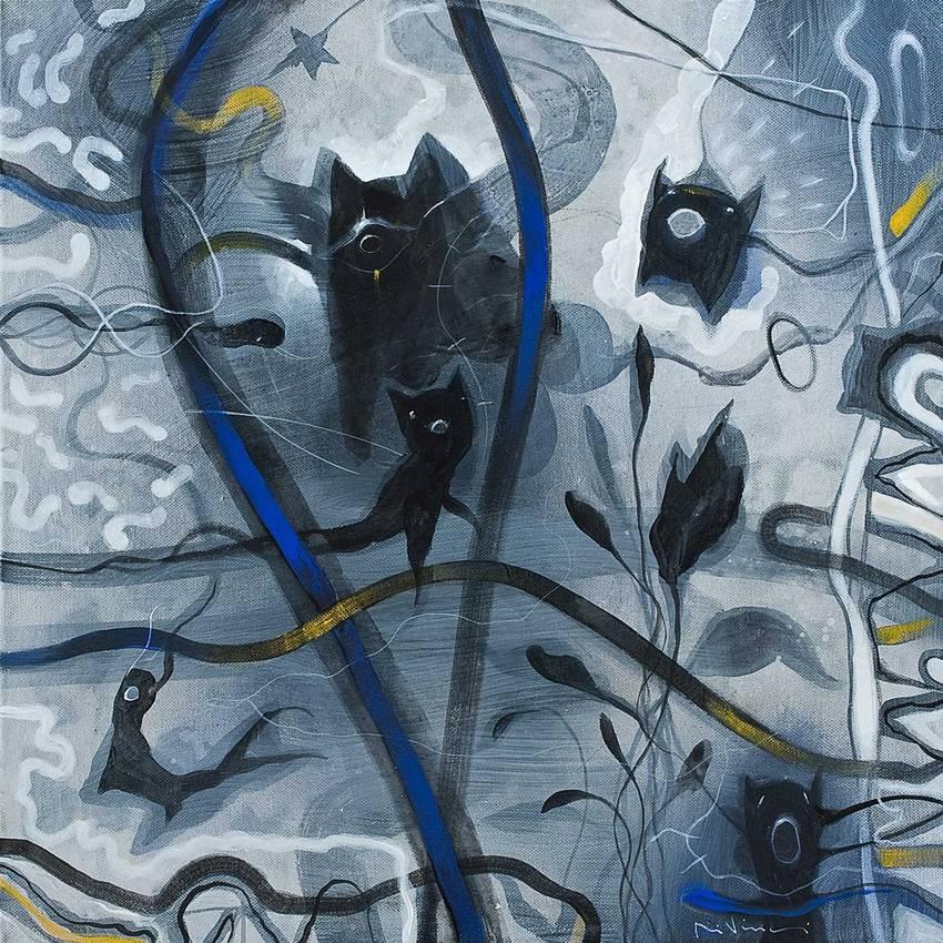 """""""Irrequieto con brio"""" acrilico su tela cm50 x cm50 2010 Collezione privata Genova"""