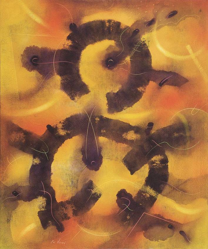 """""""rarefazione"""" acrilyc on canvas cm120 x cm100 1997 private collection"""