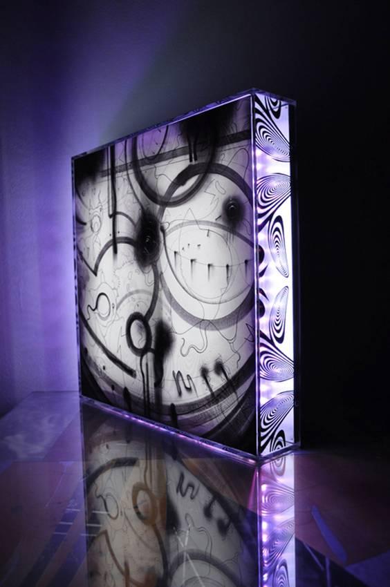 """Chromophobia"" light box cm40 x cm40 x cm10 RGB lights 2010"