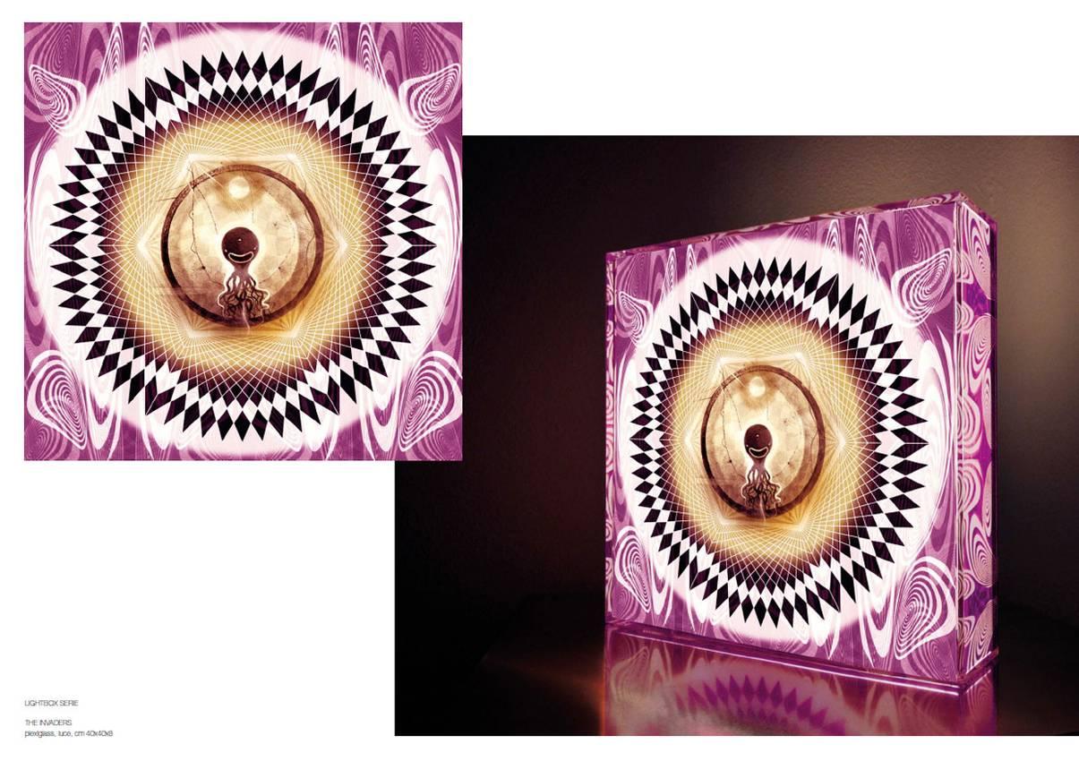 "Light box series ""the Invaders"" Plexiglas cm40 x cm40 x cm10 neon lights 2010"