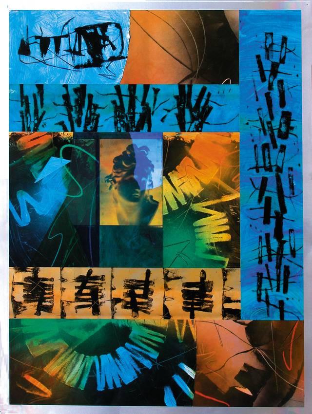 """""""secret codes"""" acrilyc on metal cm150 x cm100 collezione privata 2001"""