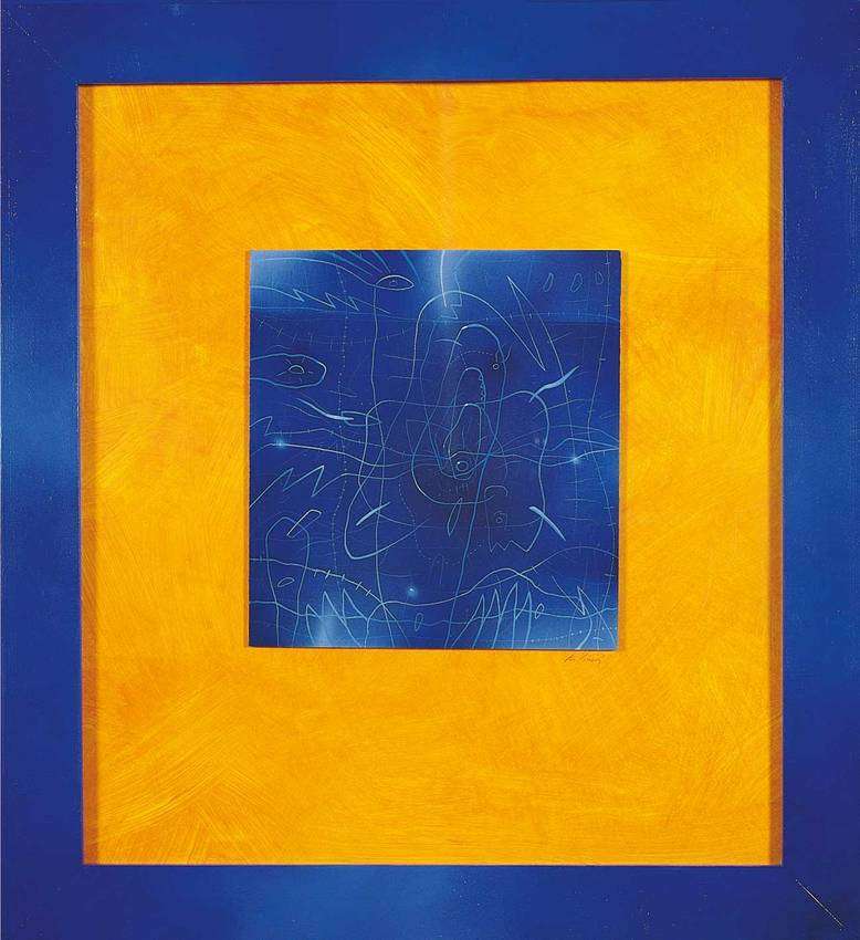 """nel blu"" acrilyc on pvc cm50 x cm40 1998 private collection"