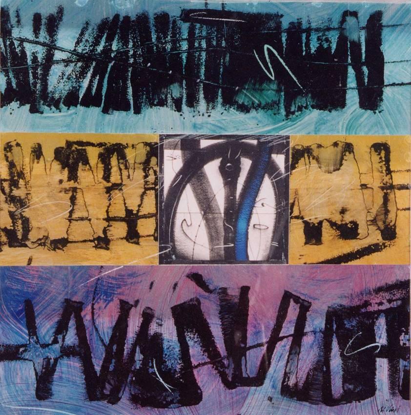 """""""metalchrome"""" acrilyc on metal cm50 x cm50 collezione privata 2004"""