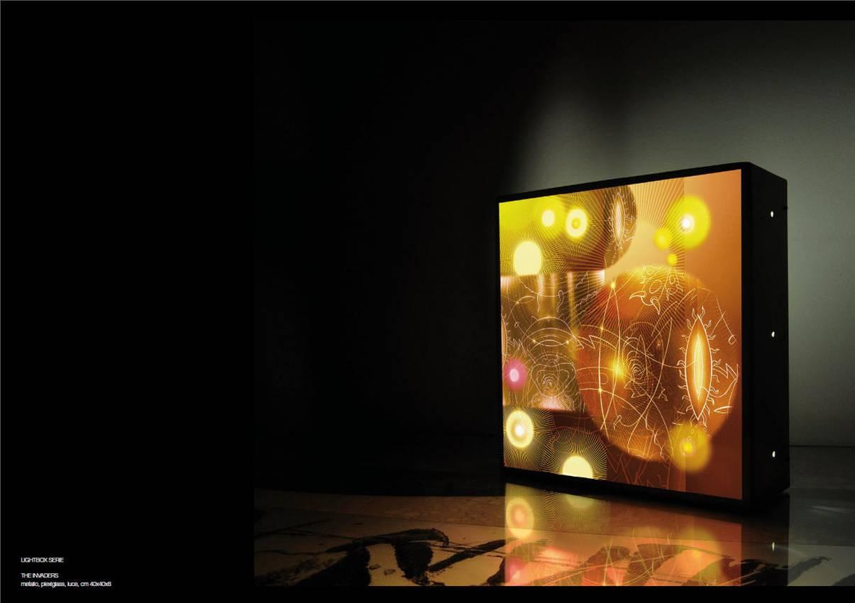 "Light box series ""the Invaders"" Plexi-Metal cm40 x cm40 x cm10 neon lights 2010"