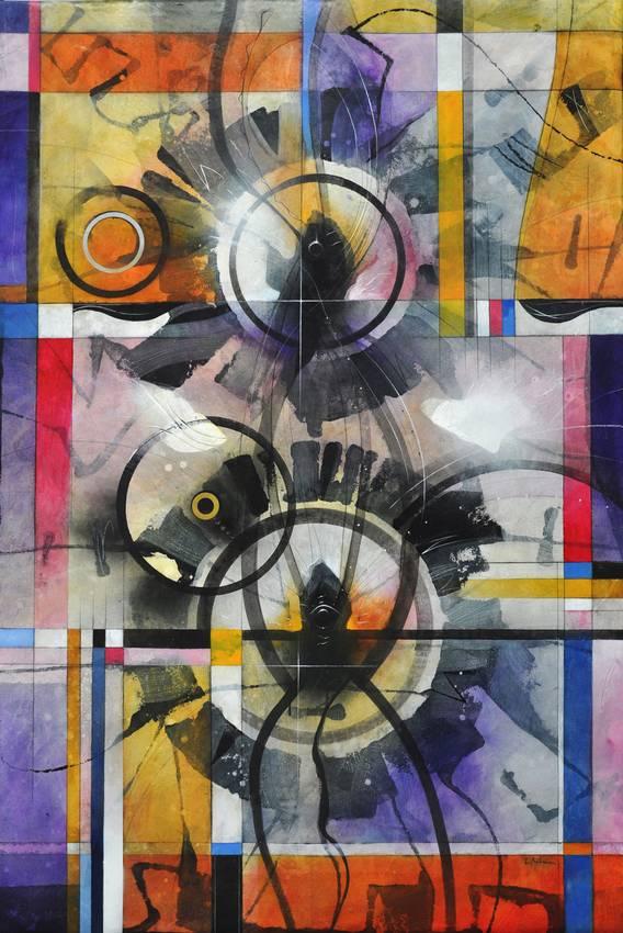 """Circular Thinking"" acrilyc on cardboard cm100 x cm150 2015"