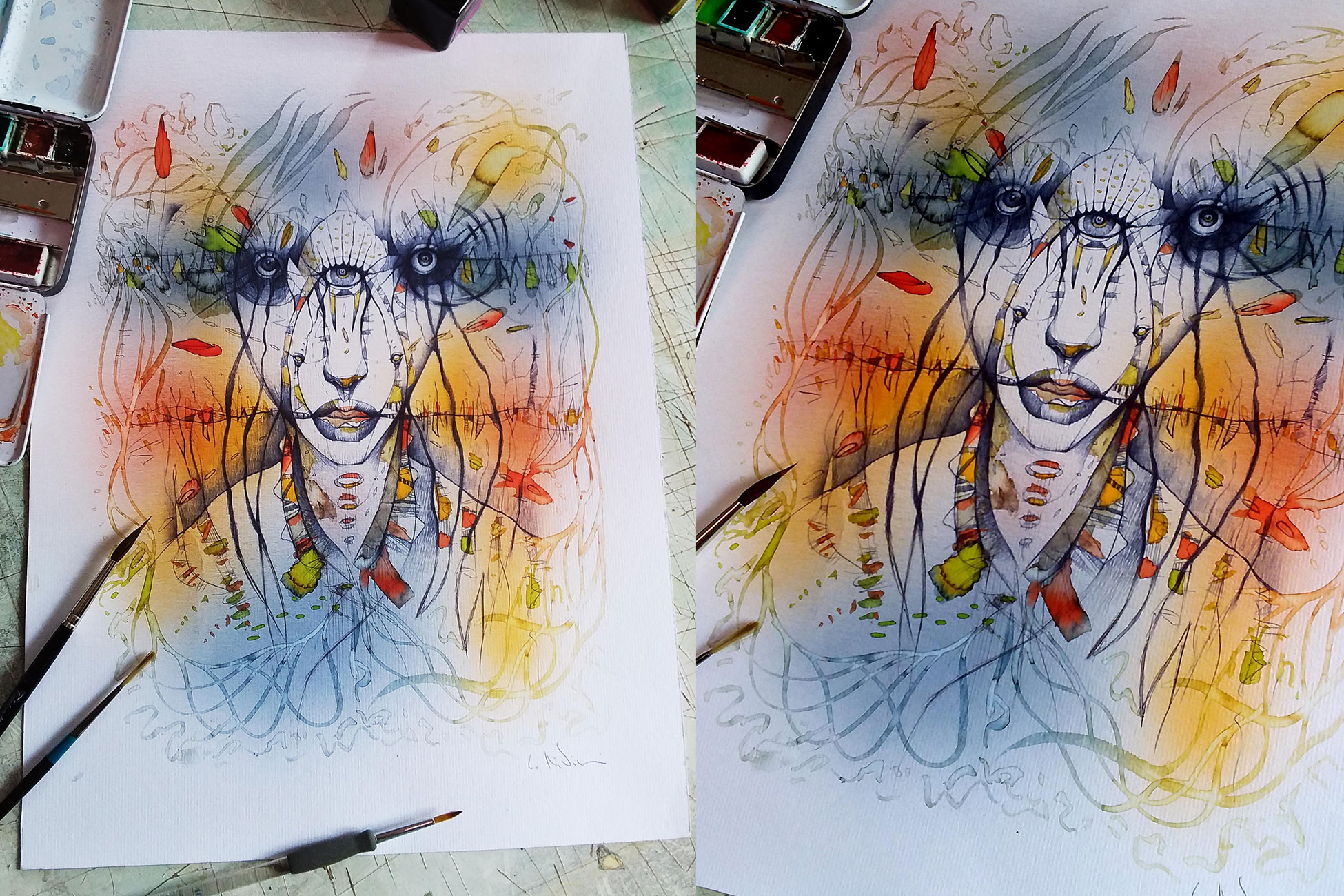 TRICLOPE watercolors A3 size Euro 200