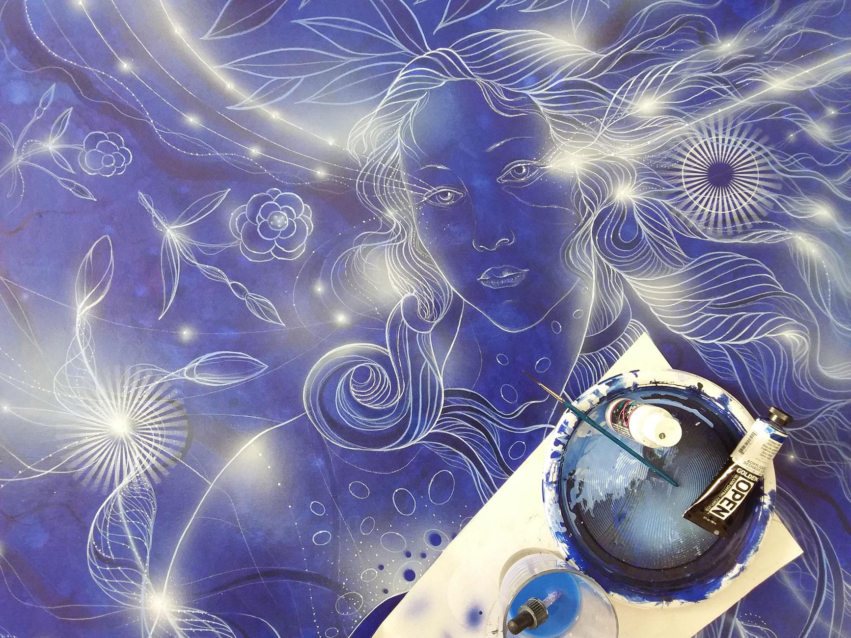 The birth of blue Venus Acrilyc on canvas cm100 x cm100 x cm4 2020