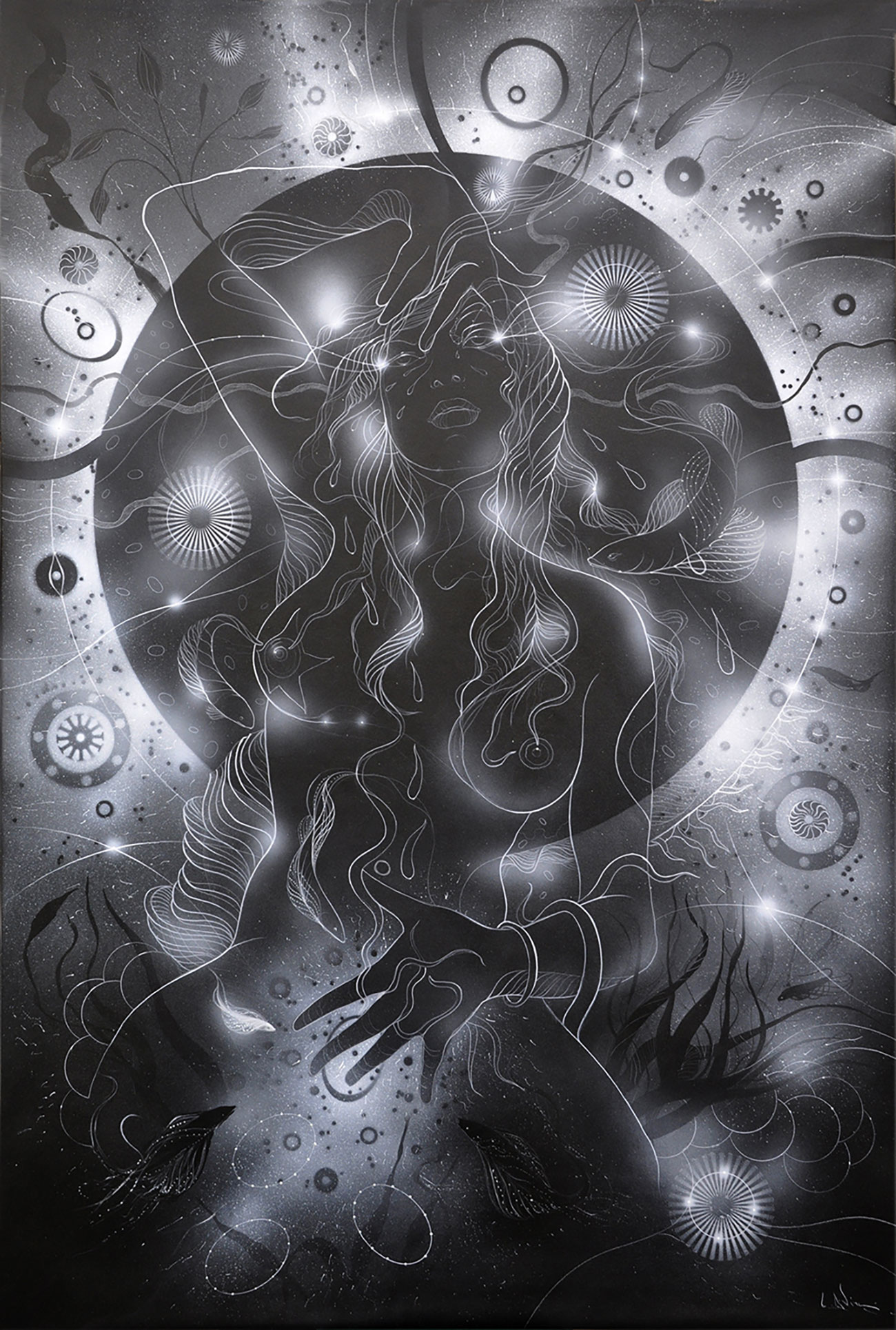 """Black Venus"" - Acrilyc Airbrush cm100 x cm150 x cm3 - 2020"